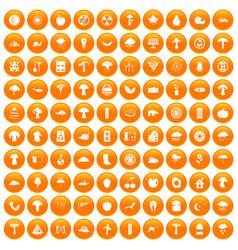 100 mushrooms icons set orange vector