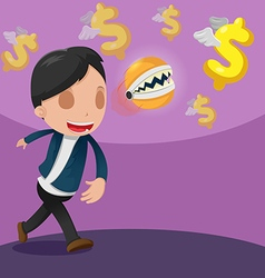 Man catch dollar currency money vector