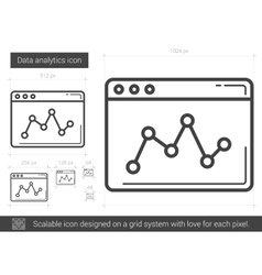 Data analytics line icon vector