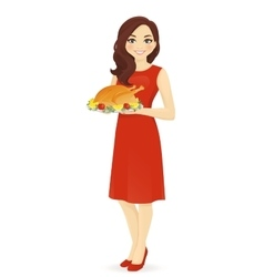 Woman with turkey vector image