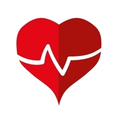 Big red heart rate healthcare icon vector