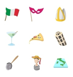 Trip to italy icons set cartoon style vector