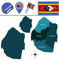 Map of swaziland with named regions vector