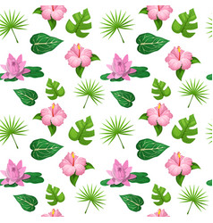 Tropical flowers and leaves seamless pattern vector