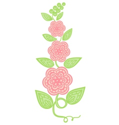 Flowers and leaves element imitation guipure embro vector