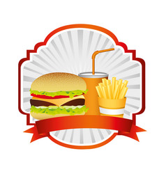 Emblem with hamburger soda and fries french and vector
