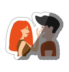 Couple caressing romantic shadow vector