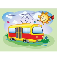 Fun tram and the sun vector