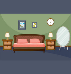 Bedroom scene with pink pillows vector