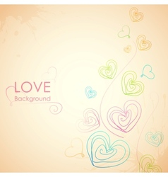 Sketchy heart in love background vector