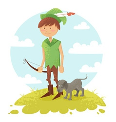 Cute cartoon robin hood boy character vector
