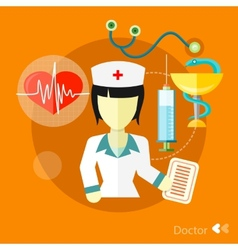 Doctor nurse concept flat icons set vector