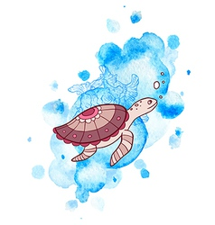 Marine background with turtle vector image