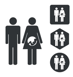 Young family icon set monochrome vector