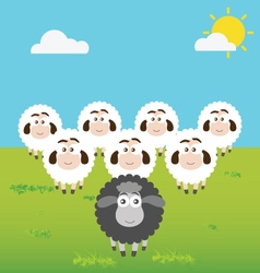 Black sheep with leadership situation vector