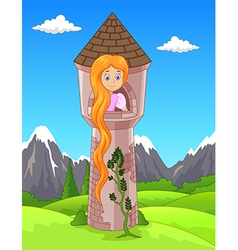 Princess with long hair waiting on the isolated vector
