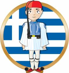 Greek evzone with flag vector image