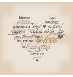 Valentine day typography design words in heart vector