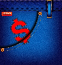 Material jeans dollars element on a textured backg vector