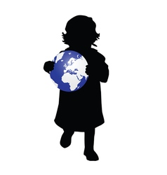 Child holding planet vector