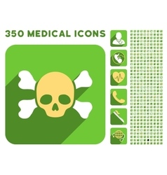 Skull and bones icon and medical longshadow icon vector