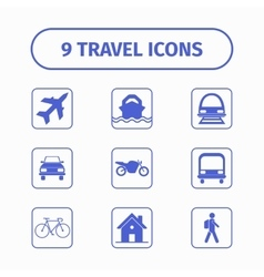 Travel and transport icon set for web and mobile vector