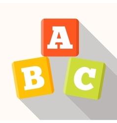 ABC blocks flat icon with long shadow Alphabet vector image