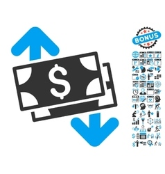Banknotes spending flat icon with bonus vector