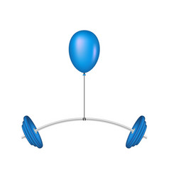 blue balloon lifting a heavy barbell vector image vector image