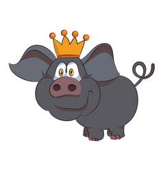 Cartoon image of crowned pig vector