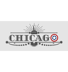 Chicago city name with flag colors styled letter O vector image vector image
