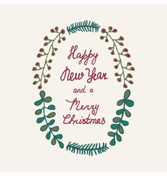 Christmas wreath hand drawn color vector