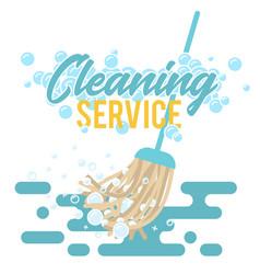 Cleaning service symbol logo or label mop vector