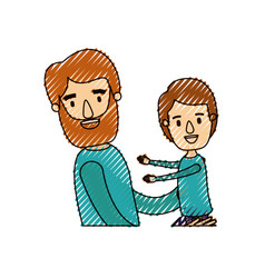 color crayon stripe caricature half body bearded vector image vector image