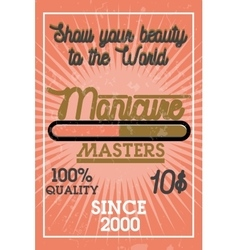 Color vintage manicure banner vector image vector image