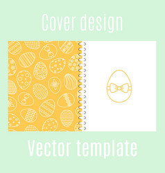 cover design with easter eggs pattern vector image
