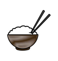 Drawing bowl of rice and chopsticks cooked dinner vector