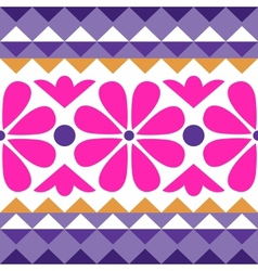 geometry pattern with flowers vector image vector image