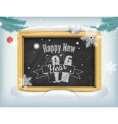 Happy New Year lettering on blackboard vector image vector image