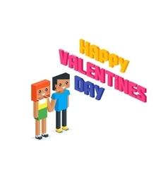 Happy Valentine Day Couple 3d Isometric vector image vector image
