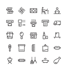 Hotel outline icons 16 vector