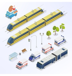 Isometric City Urban Elements Isometric Bus vector image