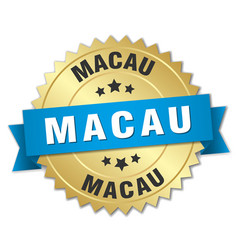 Macau round golden badge with blue ribbon vector