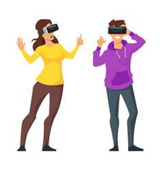 Man and woman in virtual reality glasses vector