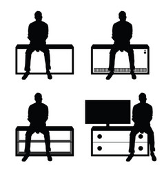 man silhouette set sitting leisure on stuff vector image