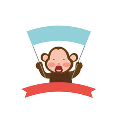Monkey cartoon banner holding animal vector