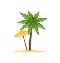 Palm tree and beach umbrella vector