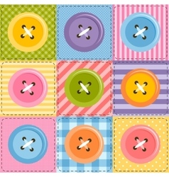 Patchwork background with sewing buttons vector