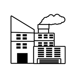 Power plant building with chimney outline vector
