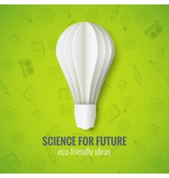 Realistic Paper Bulb in Origami Style on a Green vector image vector image
